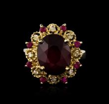 14KT Yellow Gold 6.71ctw Ruby and Diamond Ring