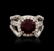 14KT White Gold 5.85ct Ruby and Diamond Ring