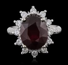 14KT White Gold 7.74ct Ruby and Diamond Ring