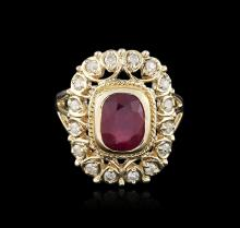 14KT Yellow Gold 3.57ct Ruby and Diamond Ring