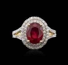 14KT Yellow Gold 4.01ct Ruby and Diamond Ring
