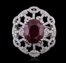 14KT White Gold 8.15ct Ruby and Diamond Ring
