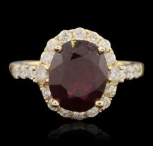 14KT Yellow Gold 5.09ct Ruby and Diamond Ring
