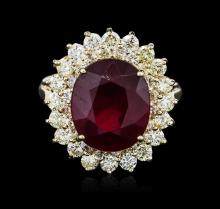 14KT Yellow Gold 8.16ct Ruby and Diamond Ring