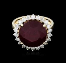 14KT Yellow Gold 11.21ct Ruby and Diamond Ring