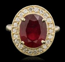 14KT Yellow Gold 6.94ct Ruby and Diamond Ring