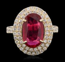 14KT Yellow Gold 3.26ct Ruby and Diamond Ring