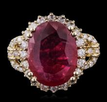 14KT Yellow Gold 5.84ct Ruby and Diamond Ring