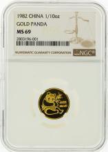 1982 NGC MS69 China 1/10 Oz. Gold Panda Coin