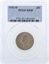 1932-D PCGS Graded XF45 Quarter Silver Coin