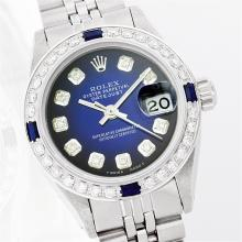 Ladies Rolex Stainless Steel Diamond and Sapphire Datejust Wristwatch