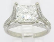 GIA Certified 3.25ctw Diamond Ring - 14KT White Gold