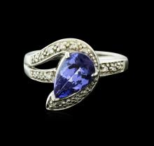18KT White Gold 1.72ct Tanzanite and Diamond Ring
