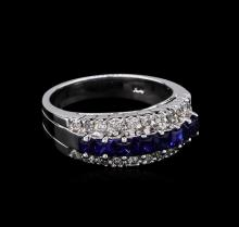 1.20ctw Sapphire and Diamond Ring - 14KT White Gold