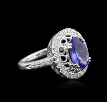 14KT White Gold 1.90ct Tanzanite and Diamond Ring