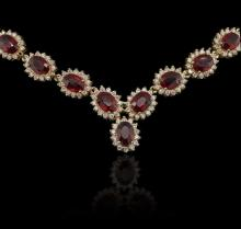 14KT Yellow Gold 35.52ctw Ruby and Diamond Necklace