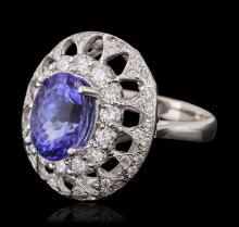 14KT White Gold 3.03ct Tanzanite and Diamond Ring