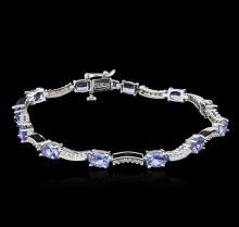 14KT White Gold 5.15ctw Tanzanite and Diamond Bracelet