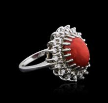 14KT White Gold 3.85ct Agate and Diamond Ring