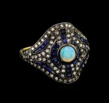 1.90ctw Blue Sapphire, Opal, and Diamond Ring - 18KT Yellow Gold