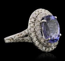 14KT White Gold 5.29ct Tanzanite and Diamond Ring