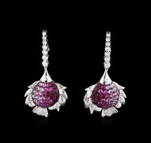 2.50ctw Pink Sapphire and Diamond Earrings - 18KT White Gold