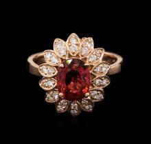 2.22ct Pink Tourmaline and Diamond Ring - 14KT Rose Gold