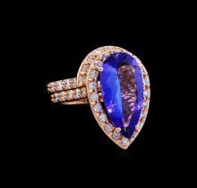 5.53ct Tanzanite and Diamond Ring Set - 14KT Rose Gold