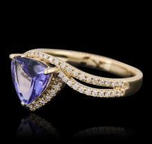 14KT Yellow Gold 1.03ct Tanzanite and Diamond Ring