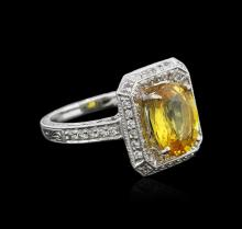 18KT White Gold GIA Certified 3.74ct Yellow Sapphire and Diamond Ring