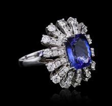 14KT White Gold 4.46ct Tanzanite and Diamond Ring