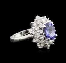 1.70ct Tanzanite and Diamond Ring - 14KT White Gold