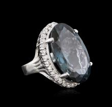 14KT White Gold 32.12ct Topaz and Diamond Ring
