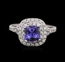14KT White Gold 1.47ct Tanzanite and Diamond Ring