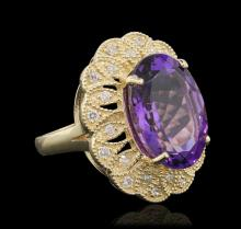 14KT Yellow Gold 10.46ct Amethyst and Diamond Ring