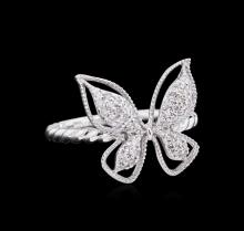 0.27ctw Diamond Butterfly Ring - 14KT White Gold