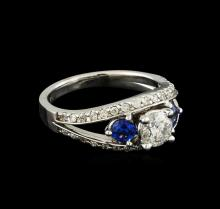 0.95ctw Diamond and Sapphire Ring - 14KT White Gold
