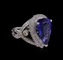 14KT White Gold 7.40ct GIA Certified Tanzanite and Diamond Ring