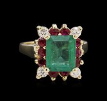 2.75ct Emerald, Ruby, and Diamond Ring - 14KT White Gold