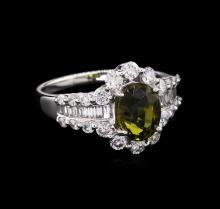 GIA Cert 2.05ct Alexandrite and Diamond Ring - 18KT White Gold