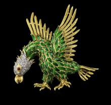 0.75 ctw Diamond and Ruby Eagle Pin - 18KT Yellow Gold