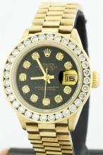 Rolex 18K Gold President 2.00 ctw Diamond Ladies Watch