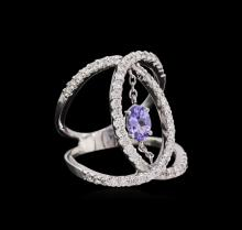 0.44 ctw Tanzanite and Diamond Ring - 14KT White Gold