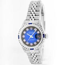 Rolex Stainless Steel 1.00 ctw Diamond and Sapphire DateJust Ladies Watch