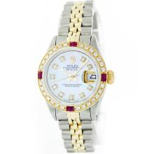 Rolex 14KT Two-Tone Diamond and Ruby DateJust Ladies Watch
