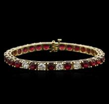 14KT Yellow Gold 19.00ctw Ruby and Diamond Bracelet
