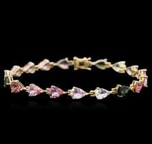 14KT Yellow Gold 10.61ctw Multicolor Tourmaline Bracelet