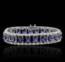 14KT White Gold 21.50ctw Sapphire and Diamond Bracelet