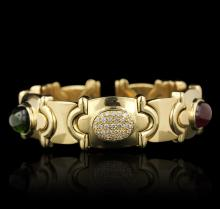 18KT Yellow Gold 15.24ctw Tourmaline and Diamond Bangle Bracelet