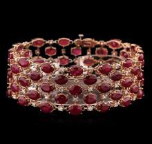 63.05ctw Ruby and Diamond Bracelet - 14KT Rose Gold